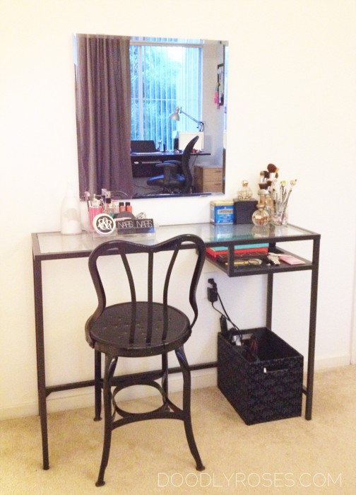 Using IKEA VITTSJO laptop table as a vanity